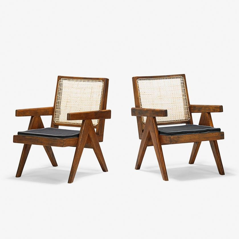 PIERRE JEANNERET Pair of lounge chairs
