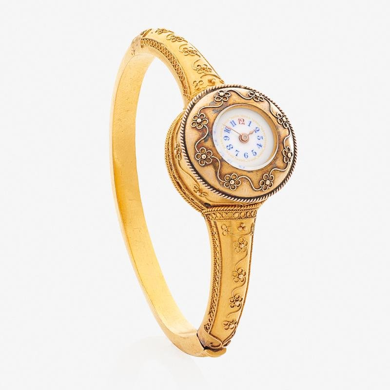 EARLY 20TH C. YELLOW GOLD WATCH BRACELET