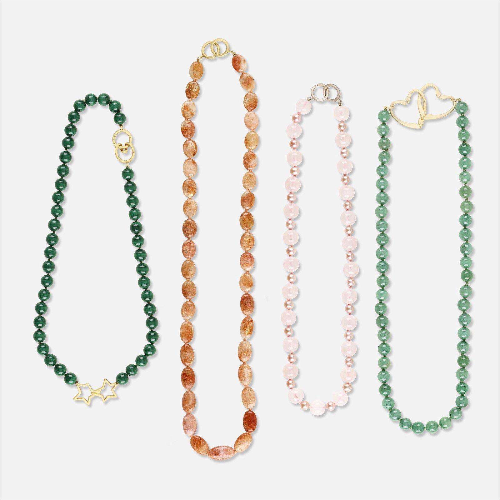Four gem bead necklaces