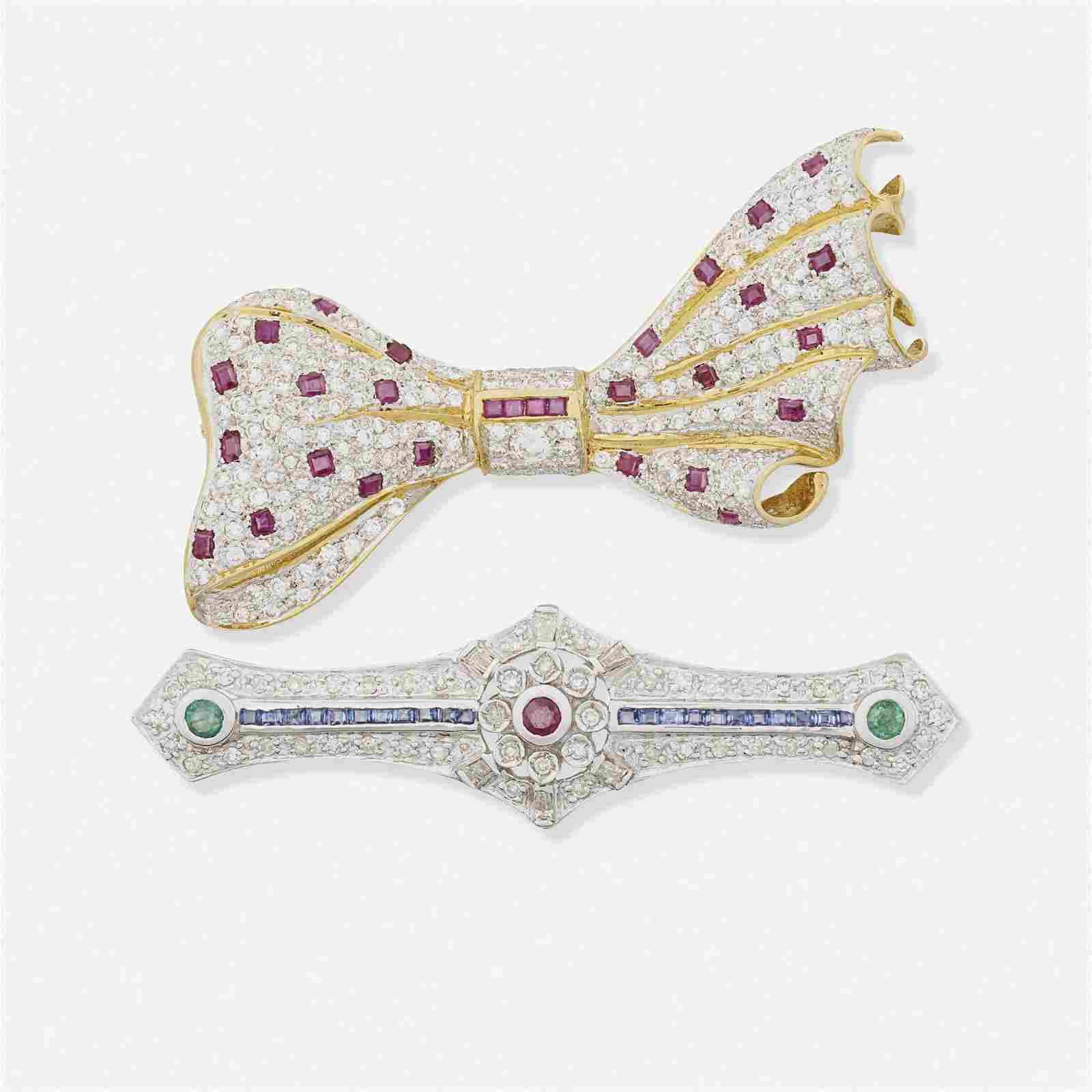 Diamond and gem-set brooches