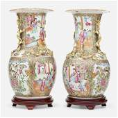 Chinese Export, large Famille Rose urns, pair
