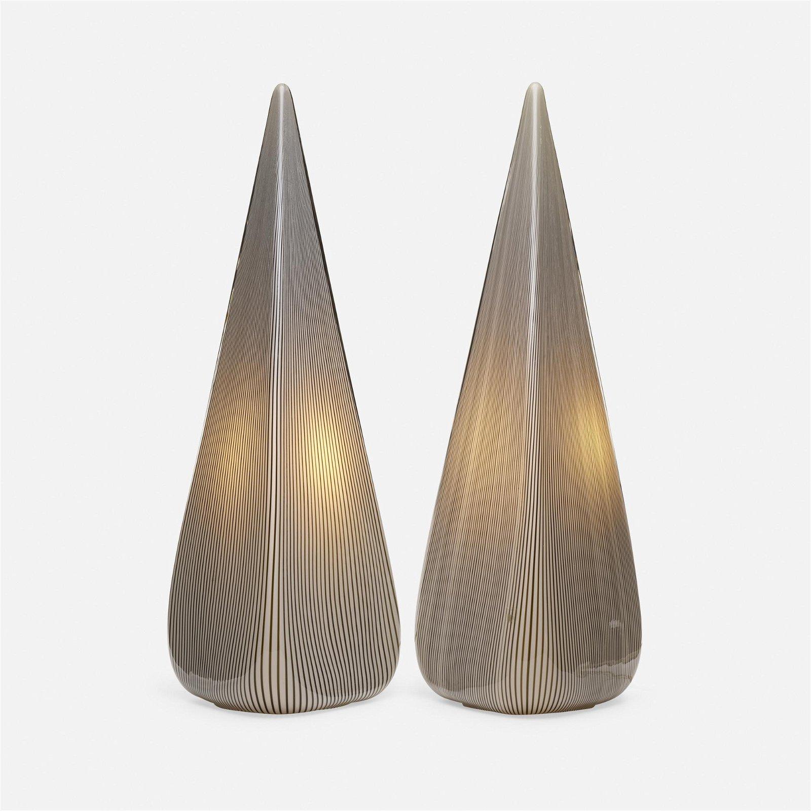 Murano, lamps, pair