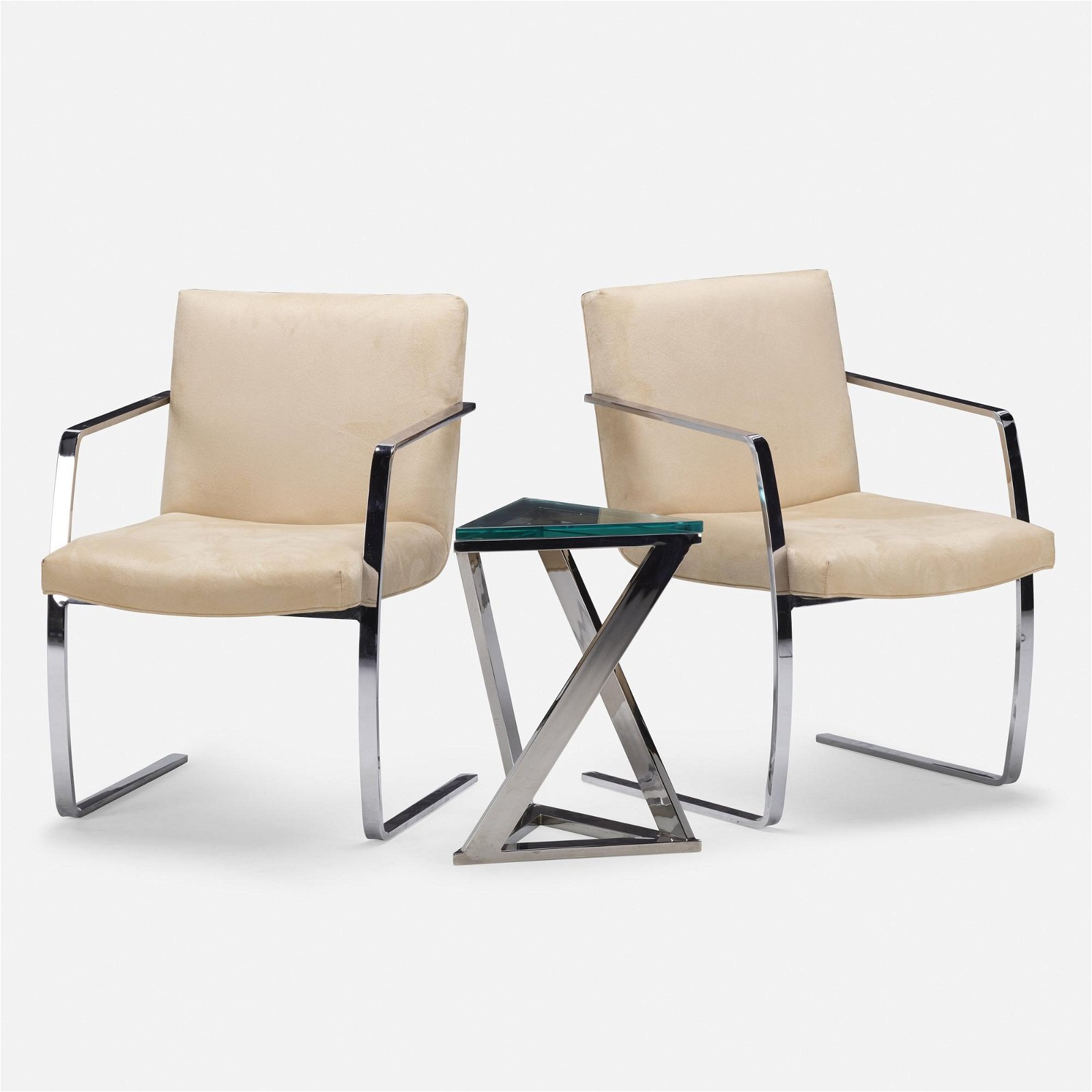 Modern, pair of armchairs and occasional table