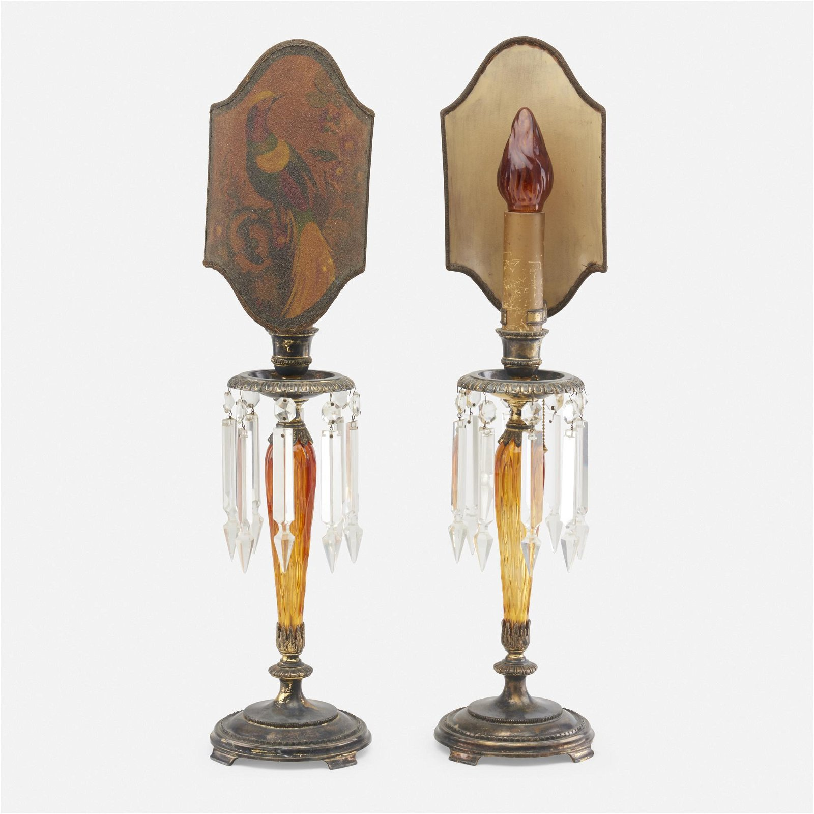 Pairpoint, candlestick lamps, pair