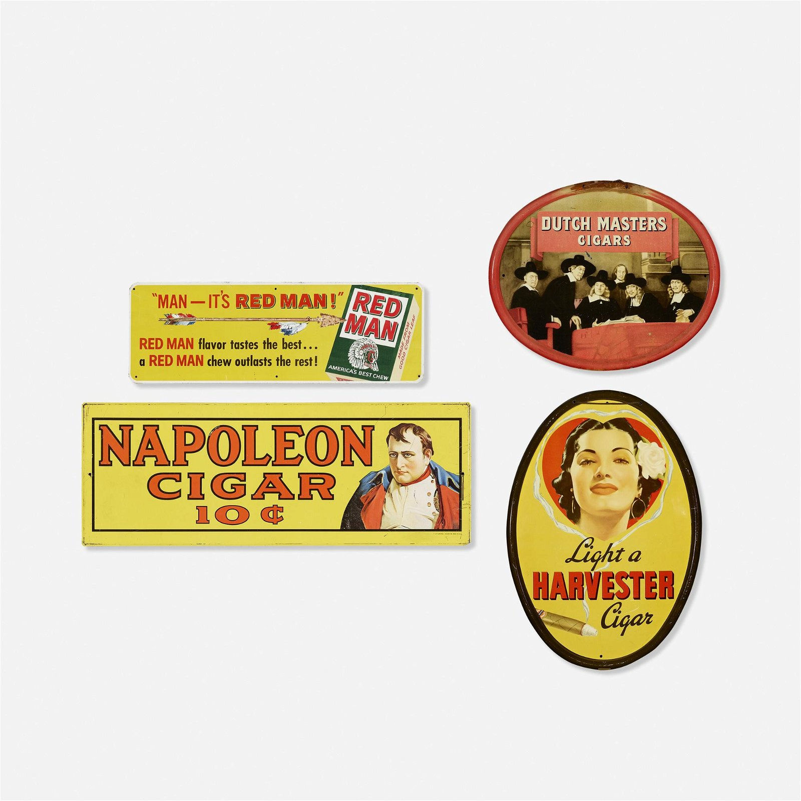 Vintage, tobacco and cigar signs, collection of four