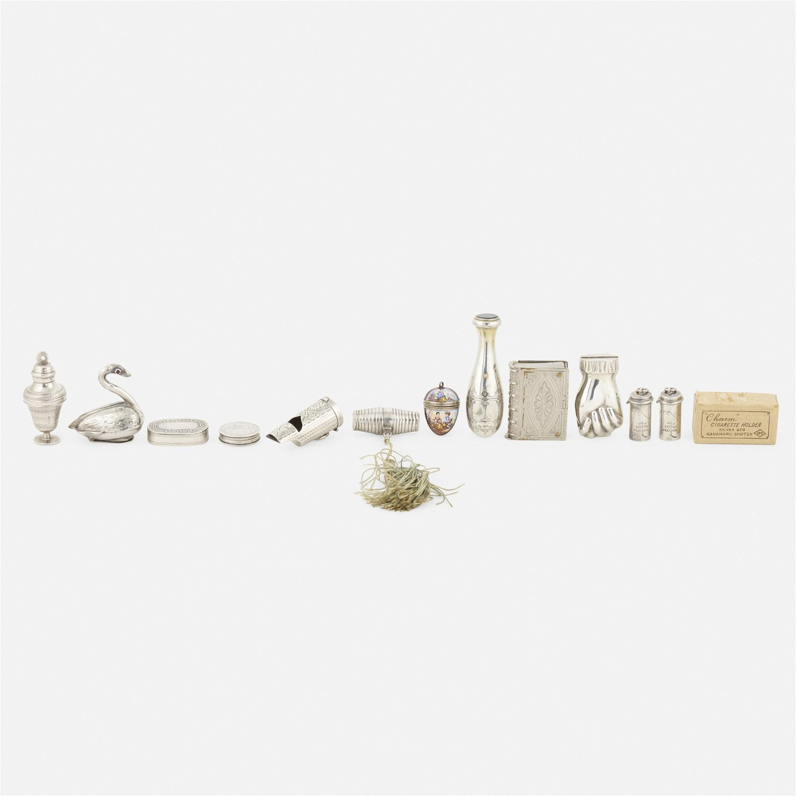 miniature silver objects, collection of twelve