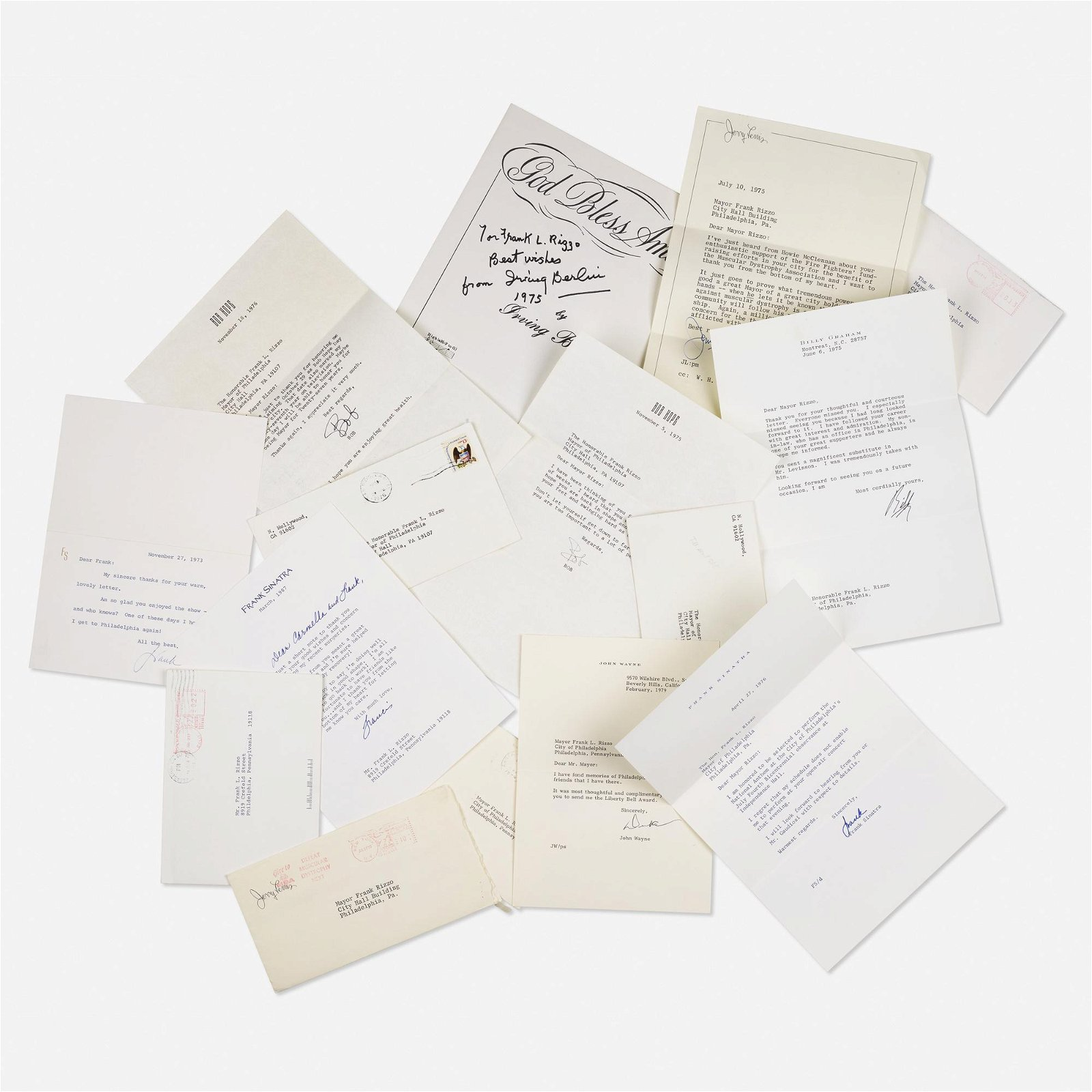 signed letters and autographs, collection of nine