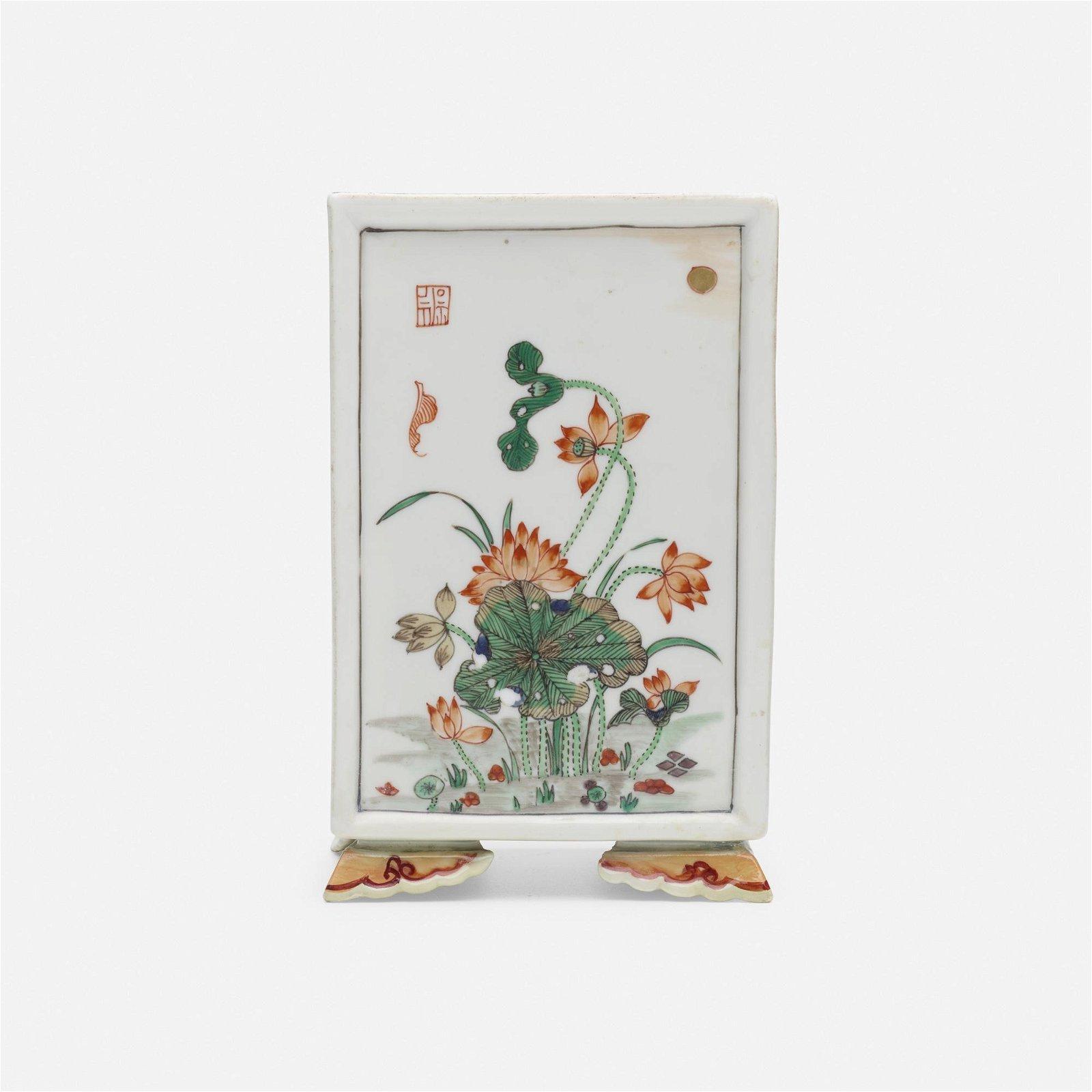 Chinese, Famille Verte brush pot