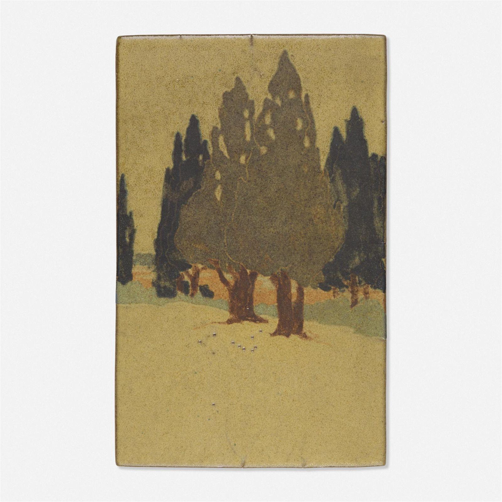 Arthur Baggs for Marblehead Pottery, Rare scenic tile