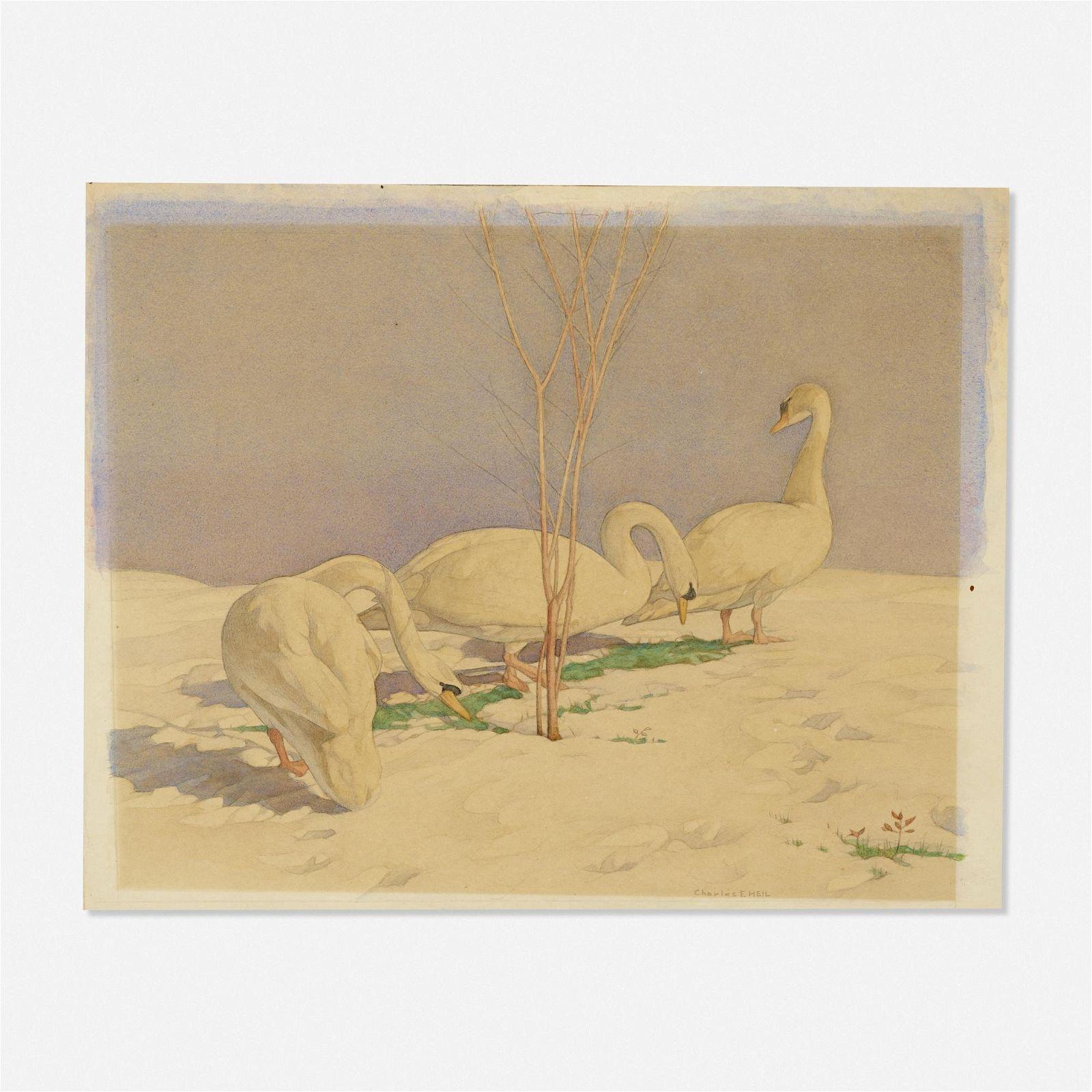 Charles Emile Heil, Swans in April Snow