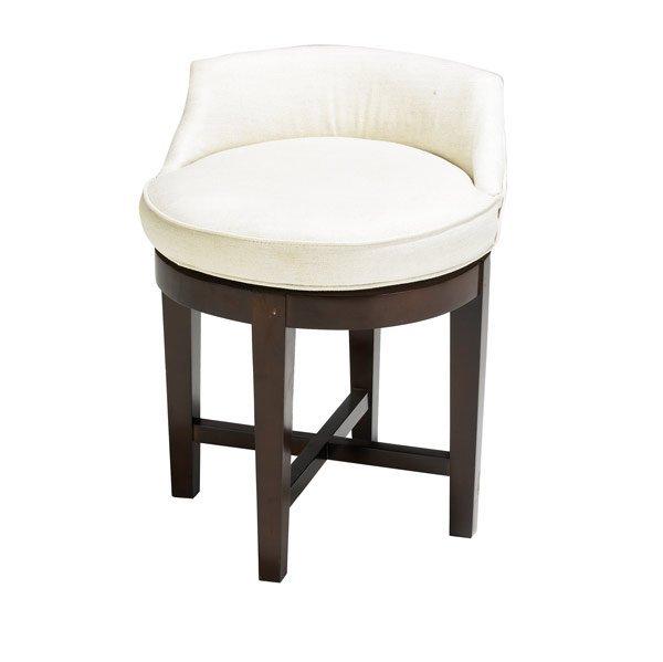 12: DUNBAR Vanity stool with white linen upholstery
