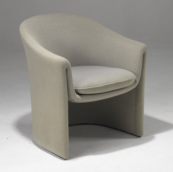 14: DUNBAR Barrel chair upholstered in gray wool