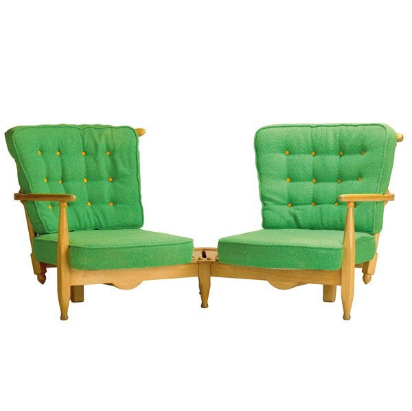 173: GUILLERME ET CHAMBRON Oak Angular Sofa