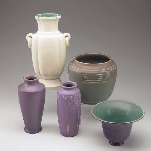 1013: ROOKWOOD Five Production vases
