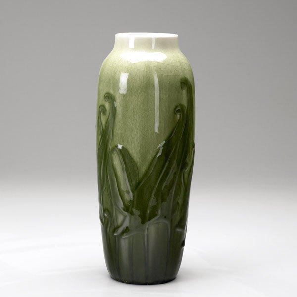 1116: ROOKWOOD Carved Iris glaze vase