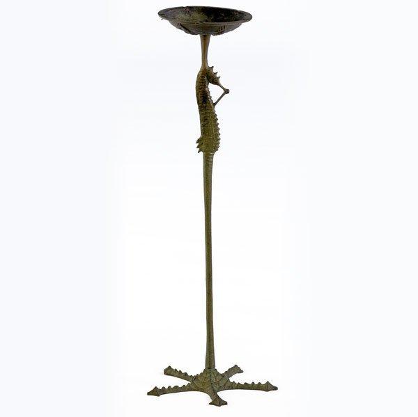 1202: E.T. HURLEY Bronze ashtray with seahorses