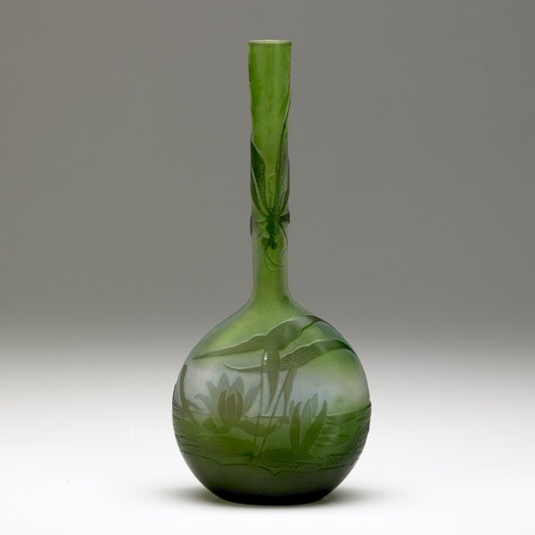 1432: GALLE Cameo dragonfly bud vase