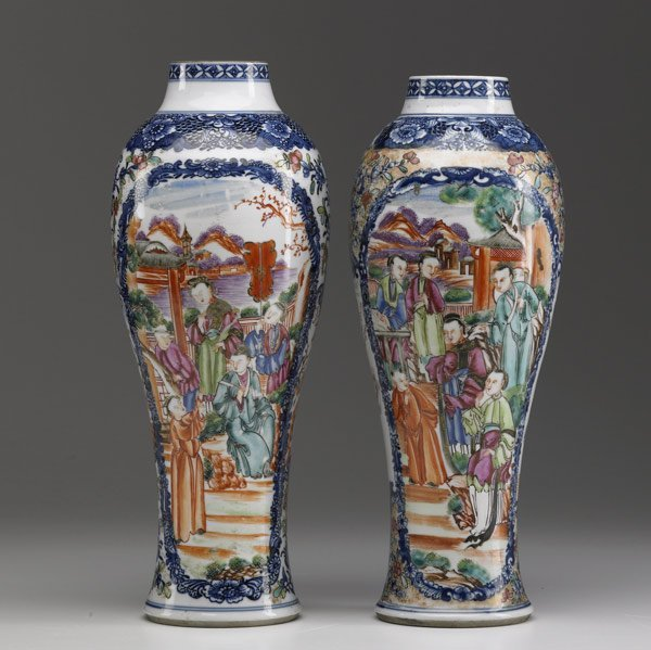 12: CHINESE EXPORT Pair of Famille Rose vases