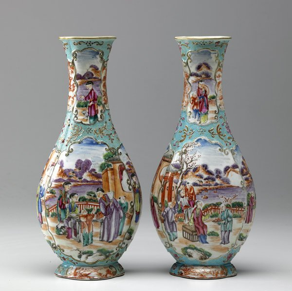 12A: CHINESE EXPORT Pair of Famille Rose vases