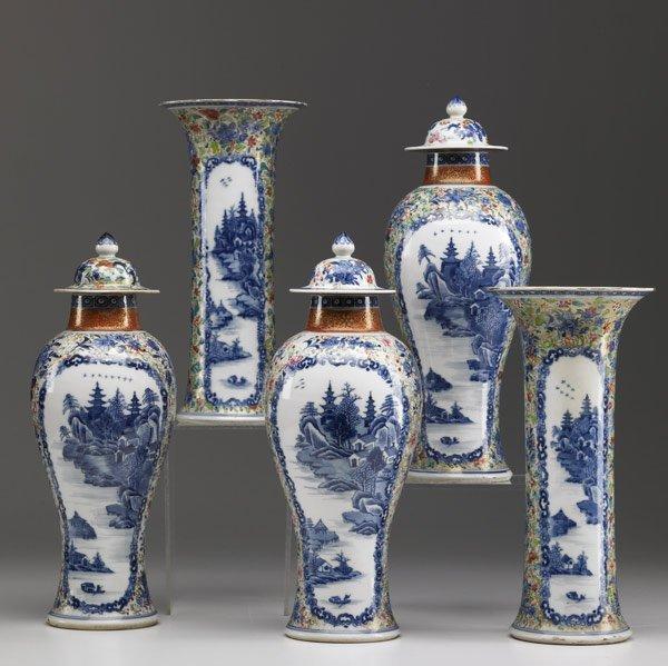 40: CHINESE EXPORT Five-piece garniture set