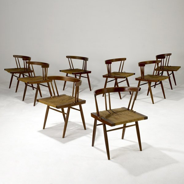 2: GEORGE NAKASHIMA Eight Grass-Seat Chairs