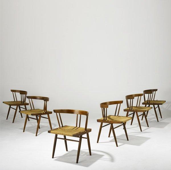 13: GEORGE NAKASHIMA Set of Six Grass-Seat Chairs