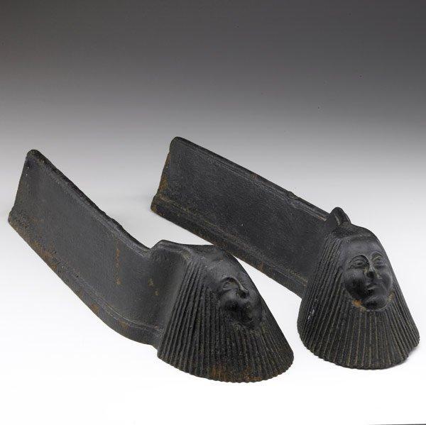 603: MODERN Pair of cast iron andirons