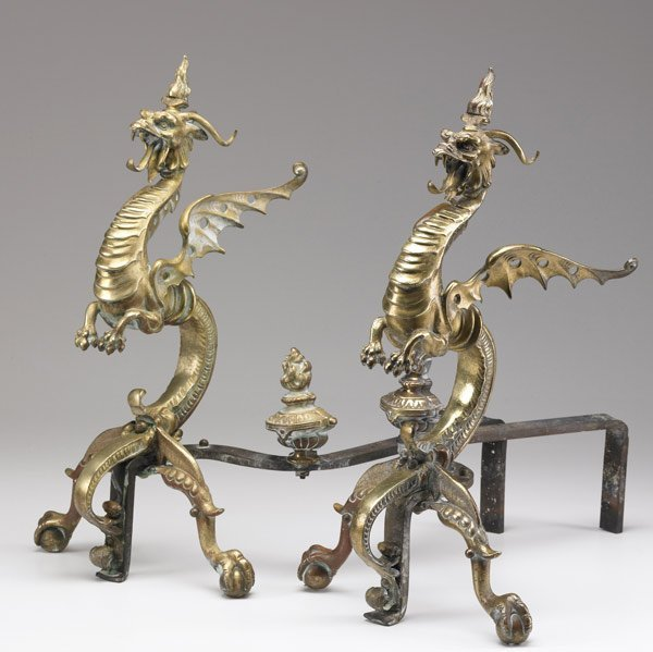 605: DECORATIVE Pair of brass andirons