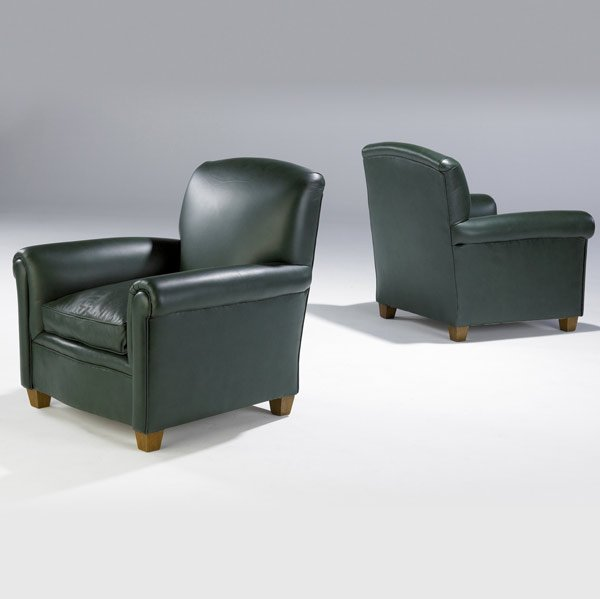 614: ART DECO Pair of club chairs