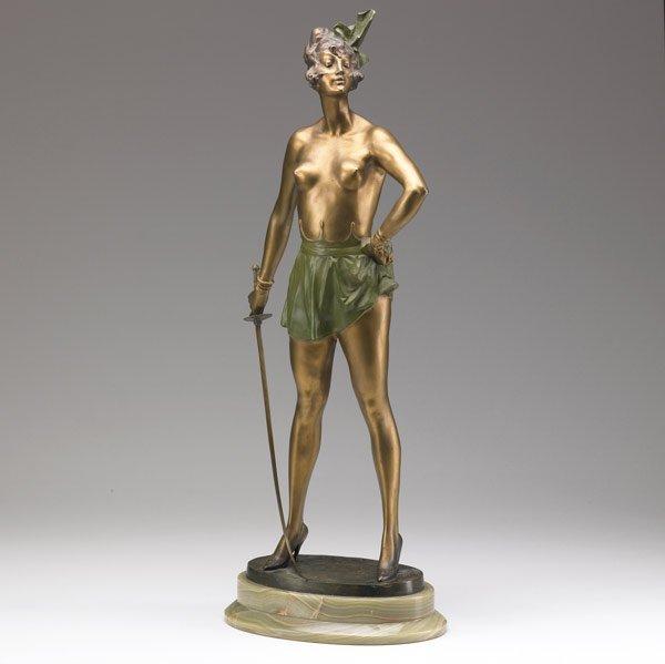 615: BRUNO ZACH Lady with Sword, bronze sculpture