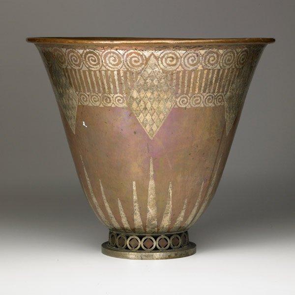 616: CLAUDIUS LINOSSIER footed dinanderie vase
