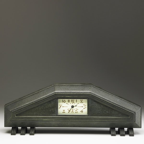 617: ALBERT CHEURET Patinated bronze mantle clock