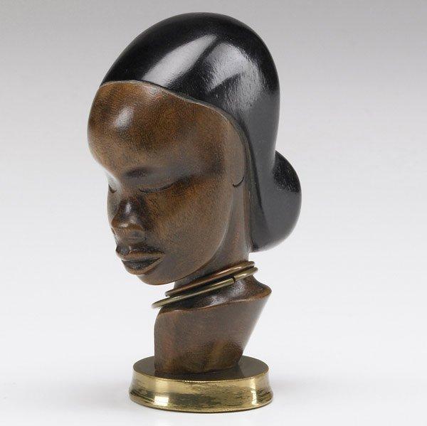620: FRANZ HAGENAUER Wood and brass female bust