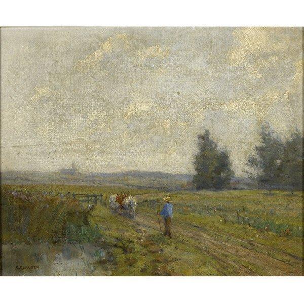 12: Sir George Clausen (British, 1852-1944) Ploughing t