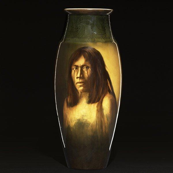 1: ROOKWOOD Important Indian portrait vase by M. Daly