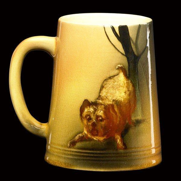 5: ROOKWOOD Standard glaze mug with puppy by Wilcox
