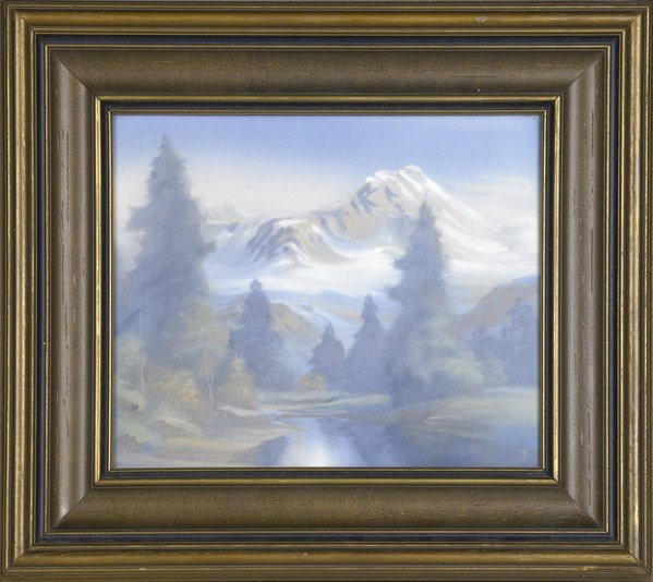 13: ROOKWOOD Large Scenic Vellum plaque by Rothenbusch