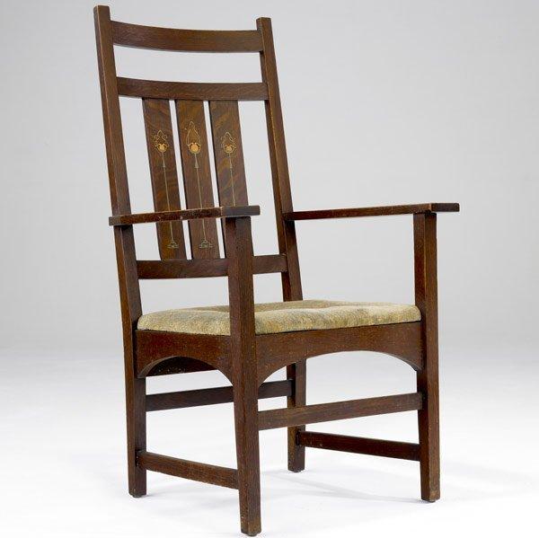 82: GUSTAV STICKLEY Rare inlaid armchair
