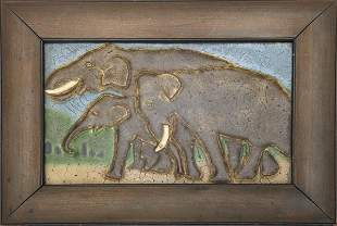 107: GRUEBY Rare tile with elephants