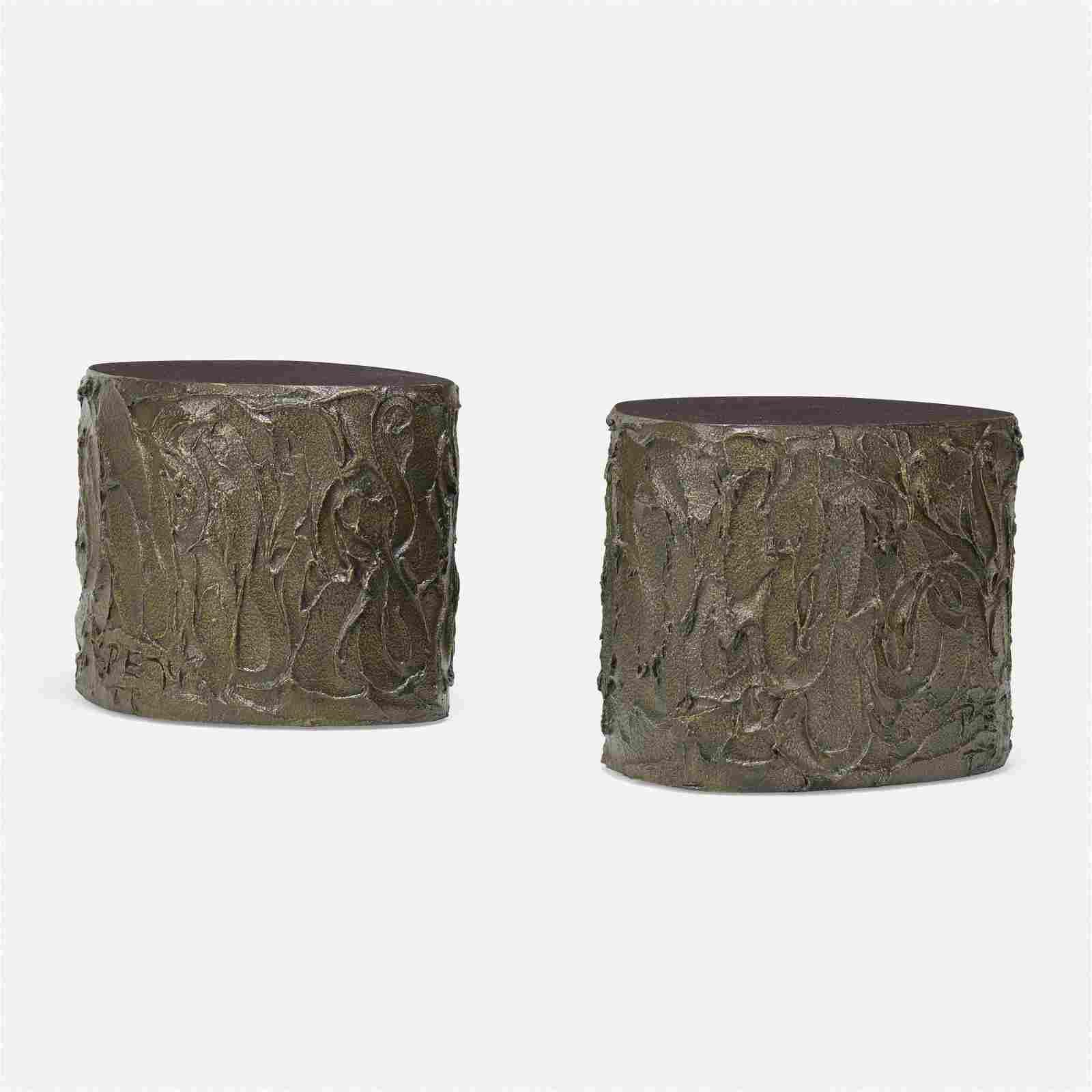 Paul Evans, Sculpted Bronze occasional tables, pair