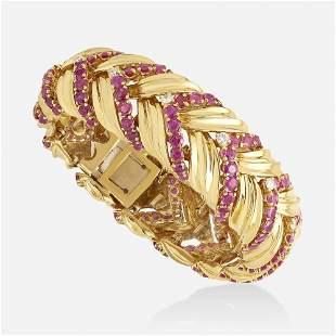 Tiffany & Co., Ruby, diamond, and gold bracelet