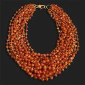 Mexican fire opal multistrand necklace