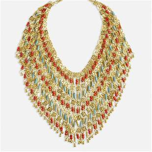 Coral, faience, and gold bib necklace