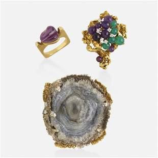 Group of gem-set Modernist jewelry
