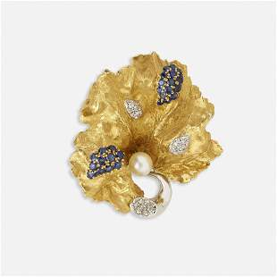 Spritzer and Fuhrmann, Sapphire and diamond brooch