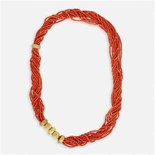 Multistrand coral bead and gold necklace
