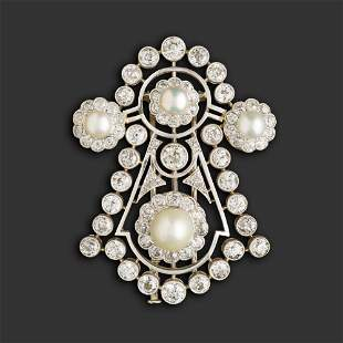Art deco diamond and cultured pearl brooch