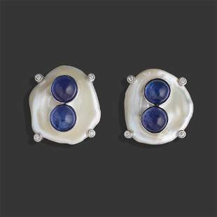 Freshwater baroque cultured pearl, tanzanite, earrings