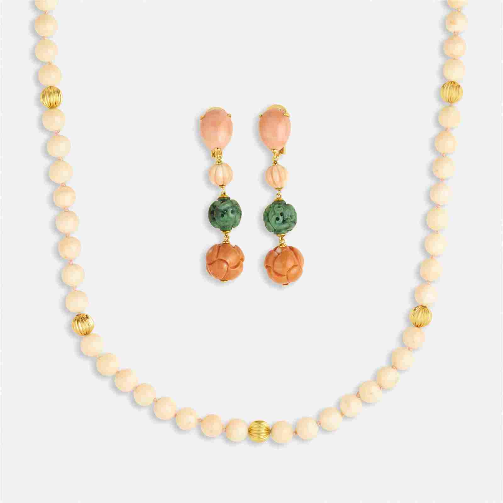 Group of coral, jade, and gold jewelry