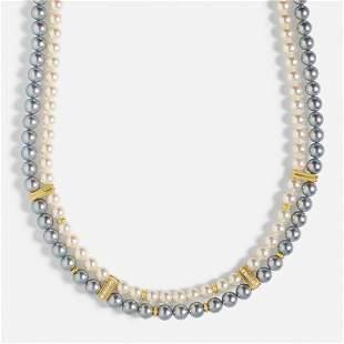 Tasaki, White / grey cultured pearl, diamond necklace